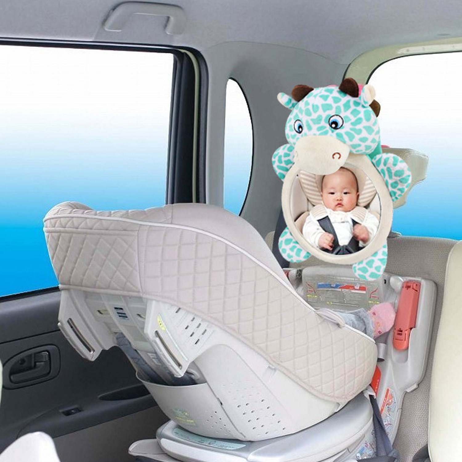 Cute Cartoon Plush Doll 360 Degree Adjustable Universal Baby Car Safety Seat Rearview Mirror Rear Facing Mirrors Accessories