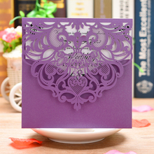 Новые 20 шт фиолетовые перламутровые бумажные Пригласительные открытки лазерная резка свадебные пригласительные открытки наборы поздравительных открыток с пустым внутренним листом