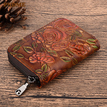 PNDME fashion vintage handmade embossed high quality genuine leather cowhide flower short card purses with coin zipper wallets