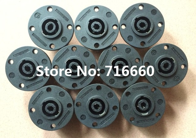 high quality  40pcs/lot 4 pole chassis connector,Round Type 4 Pin Female Panel Mount Speaker Connector for hot selling
