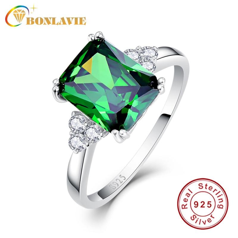 BONLAVIE Fine Jewelry Silver 925 Nano Russian Emerald Square Green Ring Size 6 7 8 9