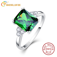 JQUEEN New Fashion 5 3ct Nano Russian Emerald Ring 925 Solid Sterling Silver Set High Quality
