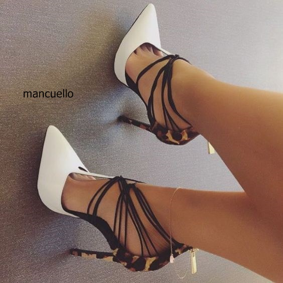 Extraordinary Women PU Leather White Patchwork Leopard Grain Stiletto Heels Pointed Toe Dress sandals Cross Strap Back Zip Pumps pu pointed toe flats with eyelet strap