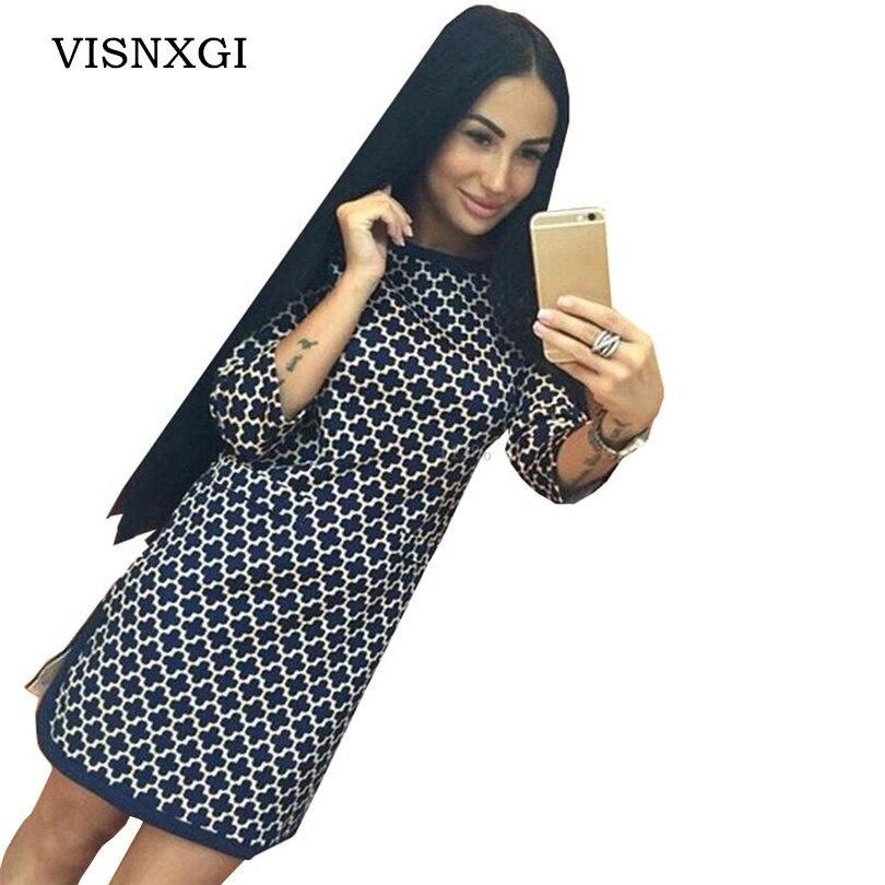 VISNXGI 2017 New Fashion For Women Dress Vintage Cross Plaid Print Neck 3/4 Long Sleeve Casual Straight Open The Fork Dresses