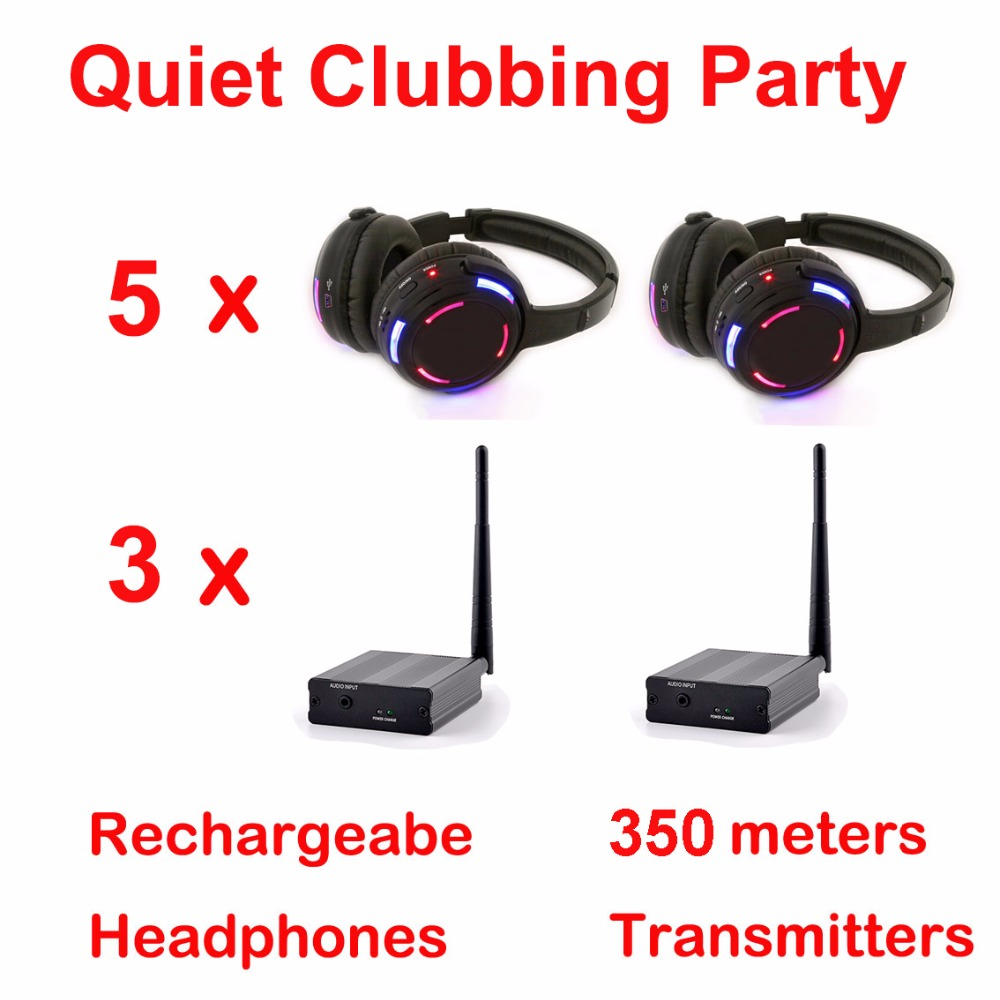 Silent Disco compete system black led wireless headphones - Quiet Clubbing Party Bundle (5 Headphones + 3 Transmitters)Silent Disco compete system black led wireless headphones - Quiet Clubbing Party Bundle (5 Headphones + 3 Transmitters)