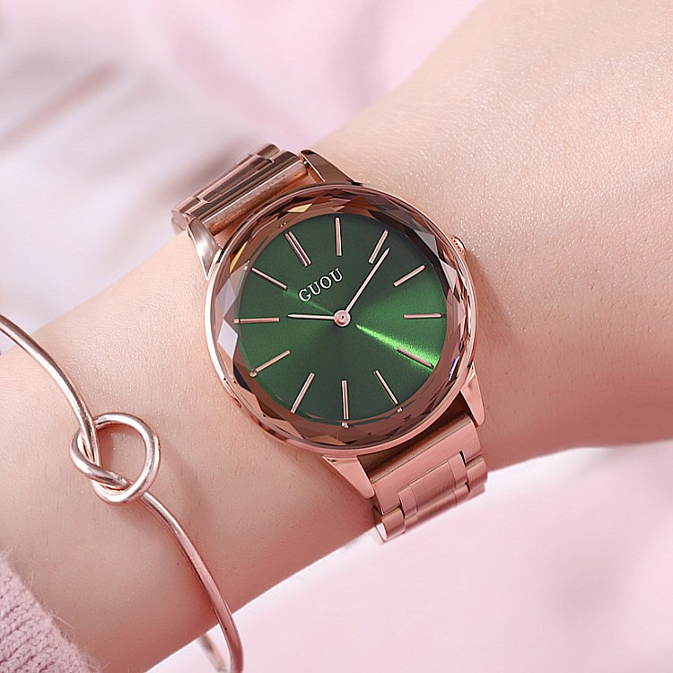 2018 Original Guou Brand Simple Style Crystal Black White Red Purple Rose Gold Steel Quartz Bracelet Wrist Watch For Women Girls laptop cooling fan for asus pu500ca fan