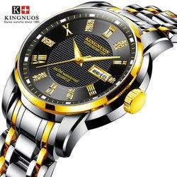 KINGNUOS Top marka mężczyźni zegarek kwarcowy luksusowe ze stali nierdzewnej mężczyzna zegar kalendarz tydzień (może angielski) data człowiek zegarki Drop Shipping