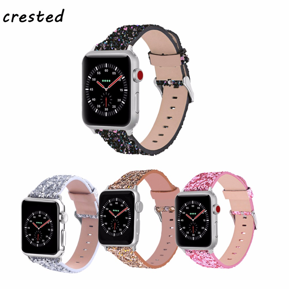 CRESTED Leather Strap for Apple Watch Band 42mm 38mm iWatch 3/2/1 band bracelet bling Leather watchband wrist belt metal buckle
