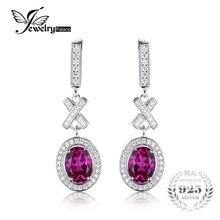 Jewelrypalace clásico óvalo creado 3.5ct zafiro rosa de halo gota cuelga los pendientes del encanto 925 de plata de la manera joyería de las mujeres