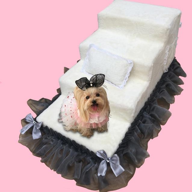 Escalier d'animal familier de dentelle de velours de corail d'échelle de chien d'éponge à haute densité avec l'échelle imperméable de formation de chien de couche nombre adapté aux besoins du client de couche
