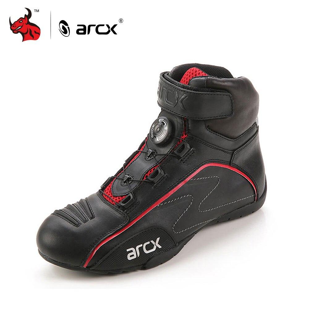 ARCX Vache En Cuir Moto Route Racing Chaussures Rue Moto Cruiser Touring Biker Moto Bottes D'équitation avec Tuning Bouton Lacets