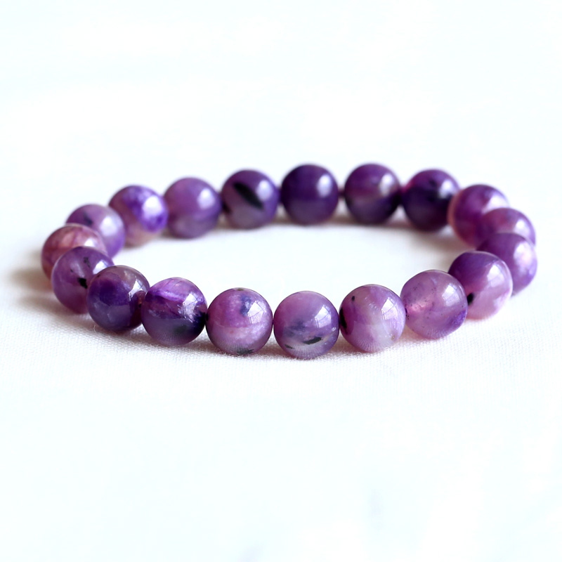 Natural Genuine Clear Purple Charoite Stretch Finish Bracelet Round beads 10mm 05092Natural Genuine Clear Purple Charoite Stretch Finish Bracelet Round beads 10mm 05092