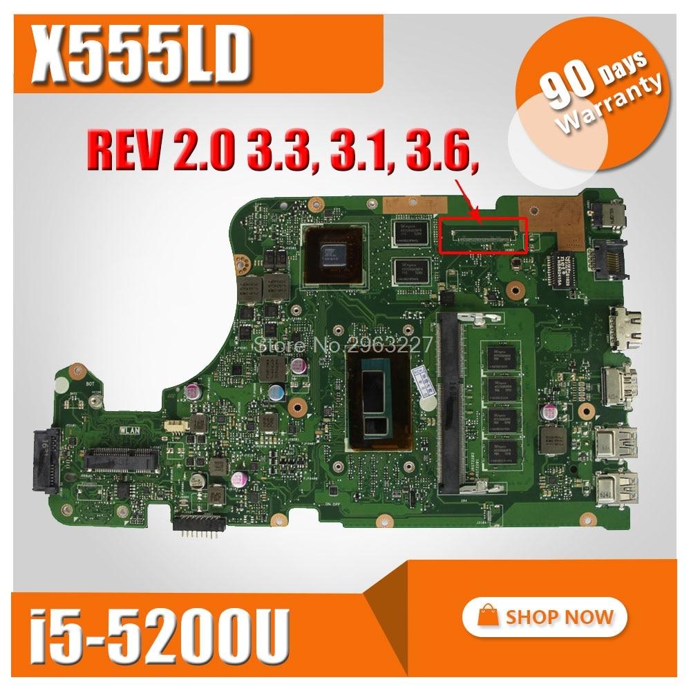SAMXINNO for ASUS X555LD Motherboard R556UB X555L X555lD X555LDB X555LD REV 3.1,3.3,3.6 Mainboard with i5-5200U CPU 100% tested kefu x555ld for asus x555ld r557l laptop motherboard rev2 0 1 1 3 1 3 3 i5 cpu motherboard tested motherboard