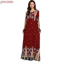 JAYCOSIN Women Muslim Red dress muslim dress for ladies Printing Loose Long Sleeve Arab Dress Islam Jilbab Dress vestidos z0429