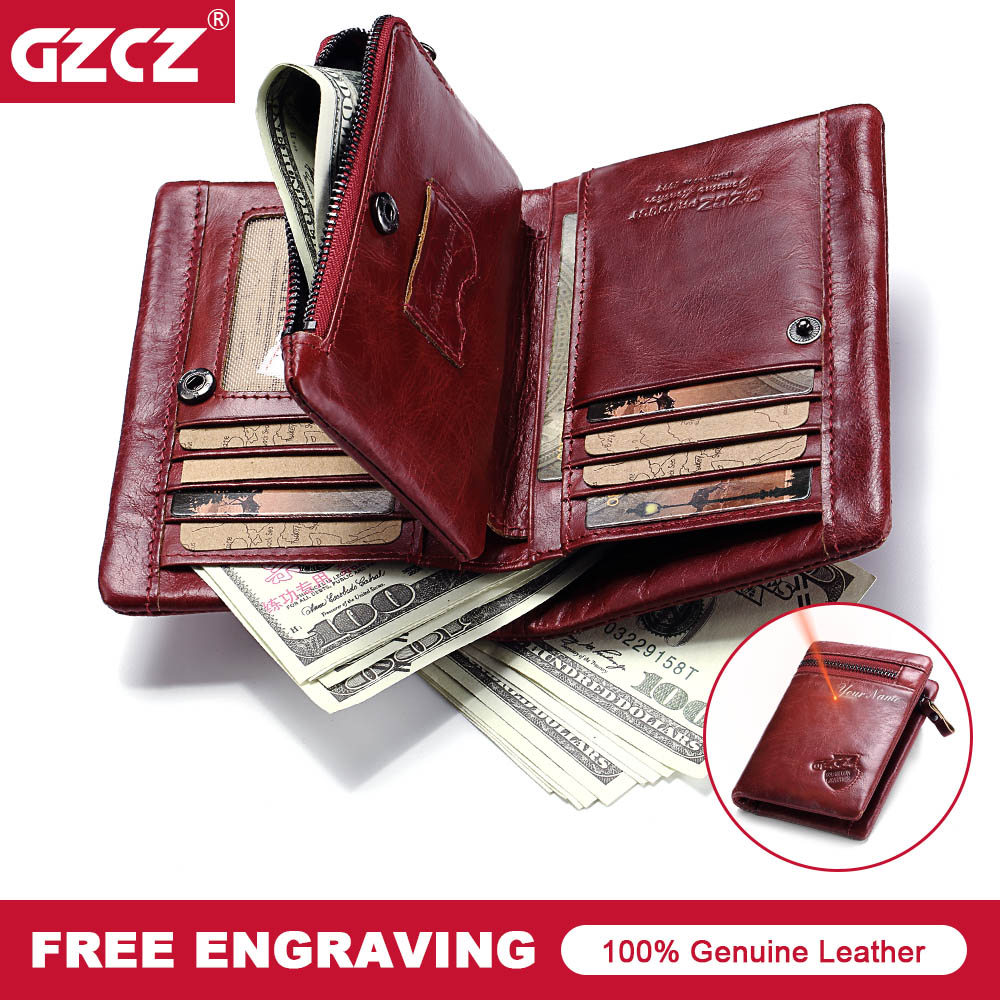 GZCZ Women Wallets Fashion Genuine Leather Walet Female Purse Short Coin Purses Card Holders Ladies PORTFOLIO Portomonee Vallet