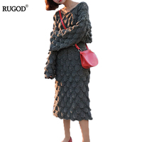 RUGOD 2017 New winter knitting Skirt sets two pieces sets Women mid calf Skirt Fashion o neck flare sleeve sweater Skirt