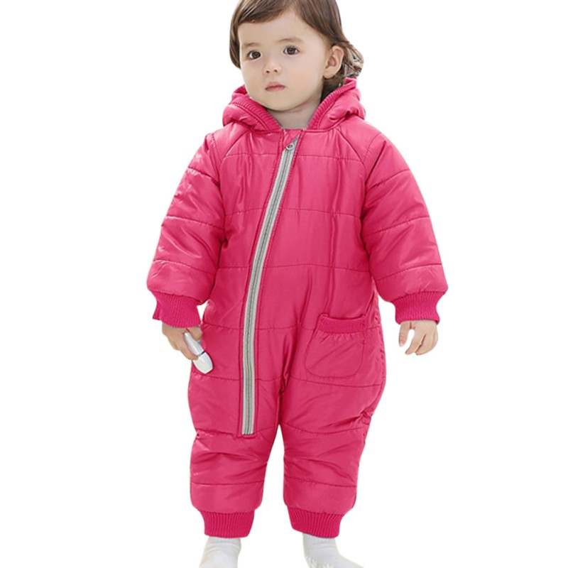 Solid Colors Girls Warm Clothes Kid Jumpsuit Children Outerwear Baby Rompers Winter Thick Cotton Boys Girls Hooded Costume