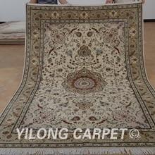 Yilong 6'x9' восточные персидские шерстяные ковры Распродажа бежевый толстый изысканный шерстяной ковер ручной работы цены(1462