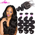Ali Coco Hair Products Peruvian Virgin Hair With Closure 3 Bundles With Lace Closure Human Hair Peruvian Body Wave With Closure