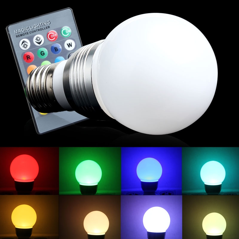 Bunte E27 LED 220 V RGB 3 Watt 16 Farben Ndern Lampe Glhbirne 24