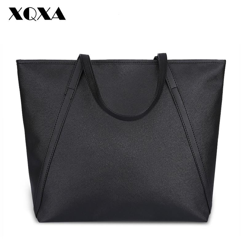 XQXA New Simple Fashion Famous Designers Brand Handbags Large Women Bags SolidPU LEATHER BAGS/Shoulder Tote Bags Big
