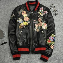 High quality embroidery leather Bomber Jackets 2019 spring autumn sheepskin coat women casual S486