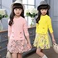 4 5 6 7 8 9 10 11 12 13 t Trajes Do Natal Vestidos de outono Para As Meninas Manga Longa Camisola Floral Para O Vestido de Meninas Adolescentes