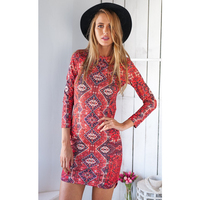 Red Slim Short Long Sleeves Casual Dress Fashion Classic Dress 2015 Western Adult Girls Style Dress