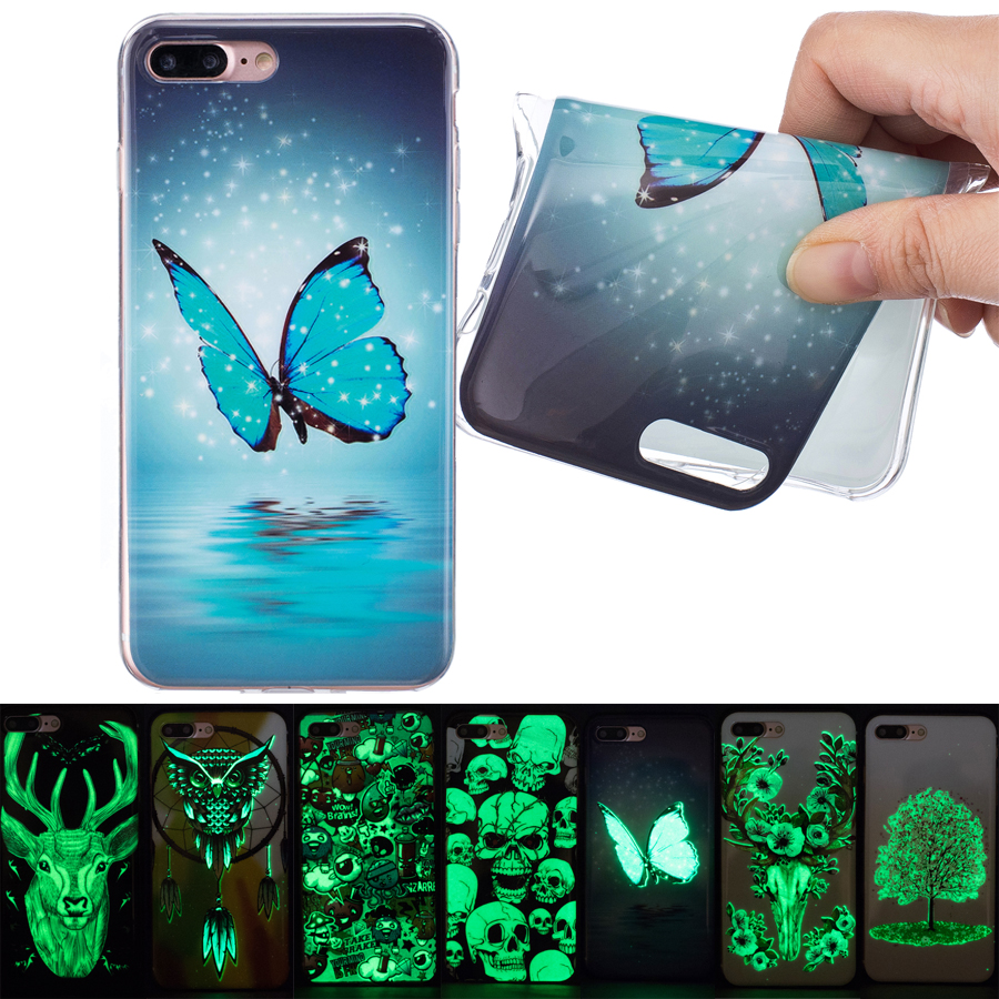 coque for iphone 6 6s plus 5s 5c se funda luminous fluorescent green style silicone cover for