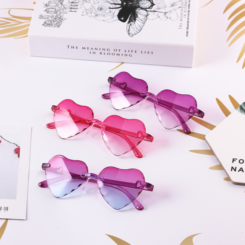 Kids Sunglasses Heart-Shaped Rimless Plastic Baby-Girls Infantil-Eyewear UV400 Factory-Wholesale