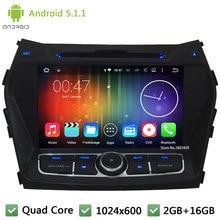 Quad Core 16 GB Android 2Din HD 1024*600 WIFI 3G BT 5.1.1 Pantalla de Reproductor de DVD de Radio Estéreo del coche Para Hyundai IX45 Santa FE 2013-2015