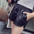 Summer Casual  PU Leather High Waist Shorts Loose Slim Slit Elastic Women Shorts 2016 Red Black Khaki