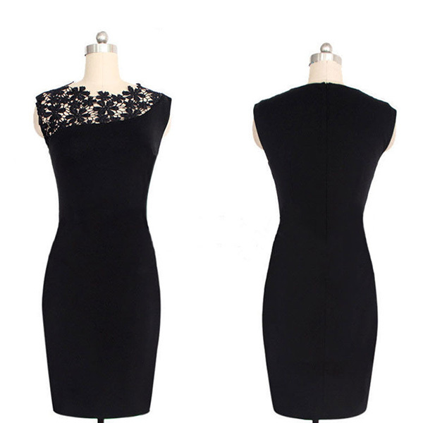 Womens Clothing Stretch Lace Crochet Slim Bodycon Pencil Dresses Club Desses Vintage Style Pencil Dress