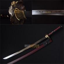 Free Sword Bag Full Tang Handmade T10 1095 Hardening Clay Tempered Choji Hamon Sharp Japanese Samurai Katana Ninja Sword #BJI