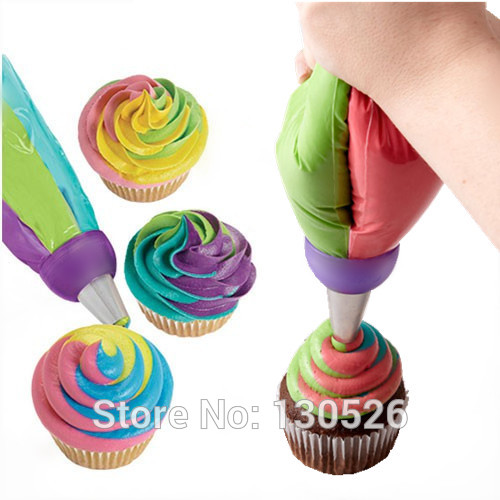 Tri Color Cake Dessert Decorators Icing Piping Bag Pastry