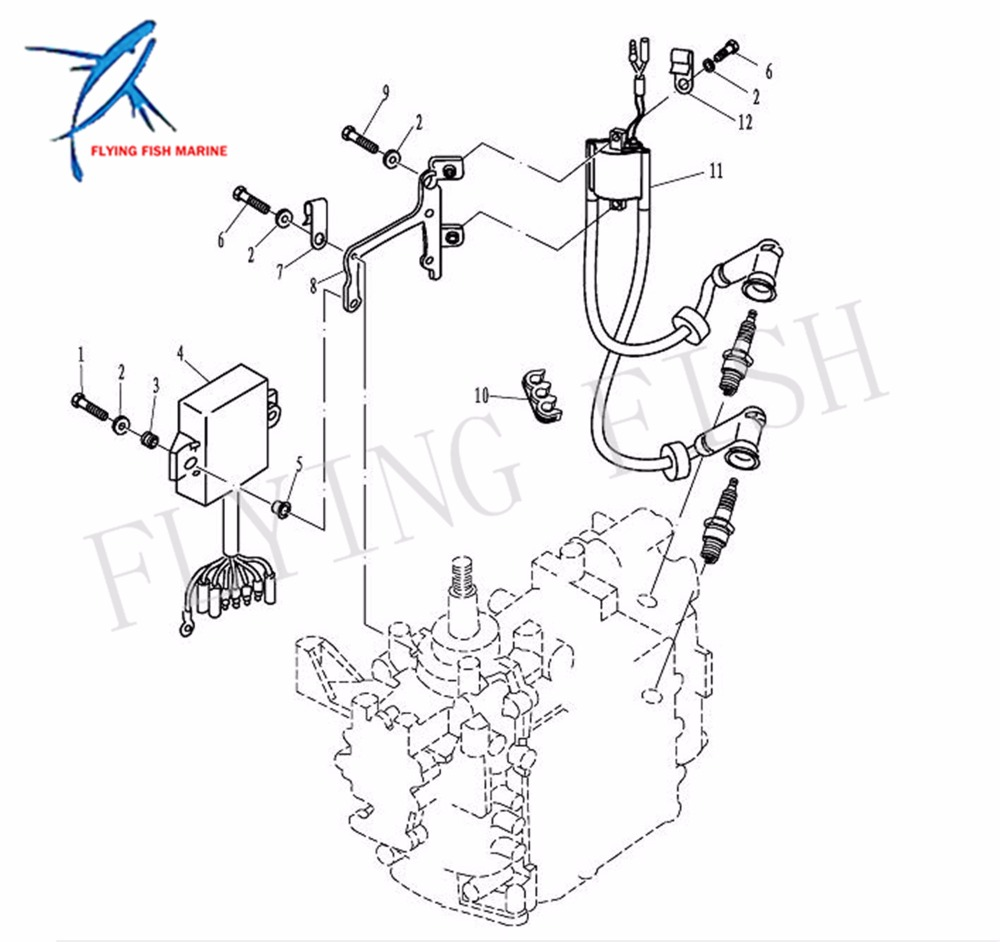 outboard engine boat motor ignition coil assy te15 05000400 for parsun hdx 2  stroke te15 te9 9, high pressure coil,free shipping-in boat engine from