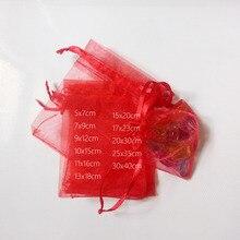 1000 stücke Rot Geschenk Taschen Für Schmuck Taschen Und Verpackung Organza Beutel Hochzeit/Frau Reise Lagerung Display beutel