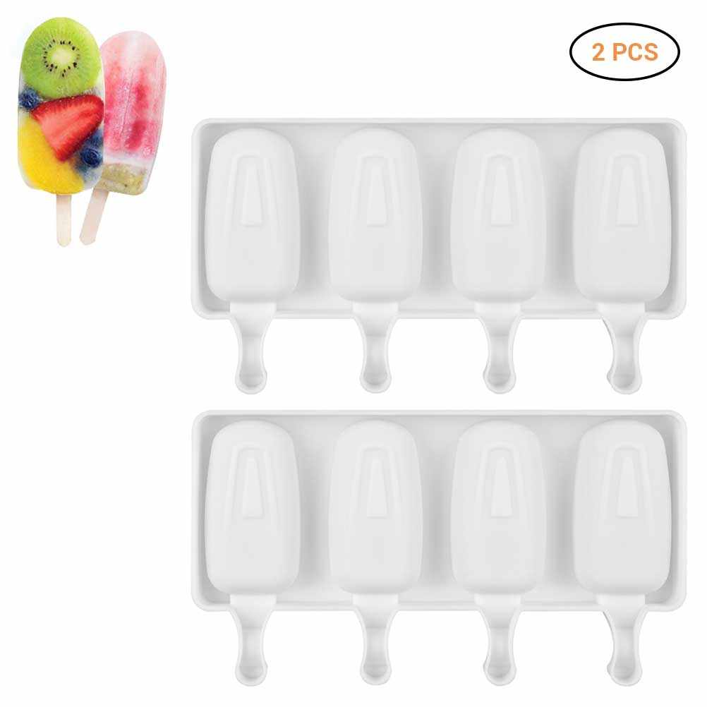 2Pcs Cavities Ice Cream Mold Makers Silicone Freezer Ice Cream Mold  Ice Cube Moulds Juice Popsicle Molds Dessert Molds Tray