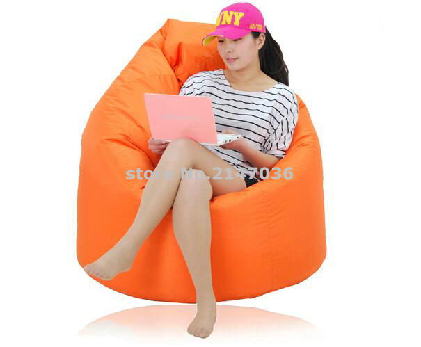 Large Lounge Tear Drop Shape Bean Bag Skin Cover orange 250L CapacityLarge Lounge Tear Drop Shape Bean Bag Skin Cover orange 250L Capacity