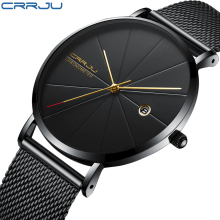2018 Fashion Simple Stylish Top Luxury Brand CRRJU Watches Men Stainless Steel Mesh Strap Quartz-watch Ultra Thin Dial Clock