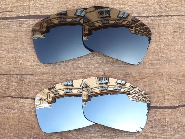 Black Grey   Chrome Prata 2 Pares Polarized Óculos de Sol Óculos de Lentes  de Reposição 58aa0903ab