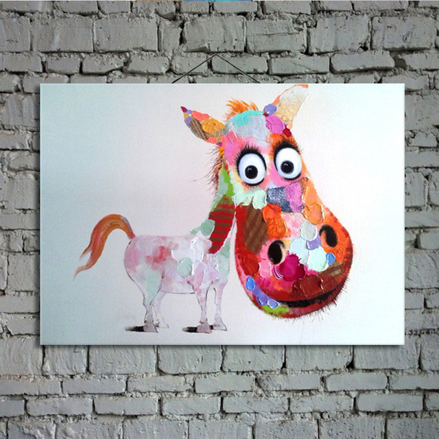 Large Abstract Cartoon Oil Painting On Canvas Donkey Picture Wall Art Home Decoration For Baby Room