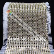 10 ярдов 24 ряд шить на горный хрусталь сетчатой отделкой SS20 Кристалл золотого и серебряного цвета База белый из сетчатой ткани для свадебного торта платье украшения