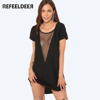 Refeeldeer Deep V Neck Mesh Sexy Club Dress Women 2017 Summer Short Party Dresses Sexy Robe
