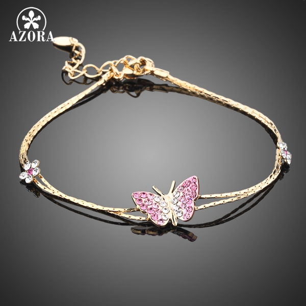 AZORA Gold Color Stellux Austrian Crystal Butterfly and Flower Charm Bracelet TS0008