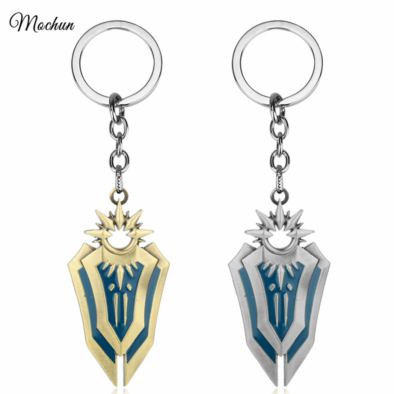 MQCHUN Iron Solari Leona Shield League of Legends LOL Weapon Metal Keyring Keychain Metal Alloy Key Chain Ring For Player's Gift