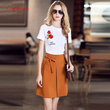 Fairy Dreams 2 Piece Set For Women Flowers Embroidery Pockect White T Shirt Crop Top And Skirt 2017 Summer Suit Casual Clothing