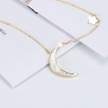 2019 Trendy half moon crescent star gilding necklace women environmentally friendly copper ladies shell pendant necklaces