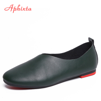 Aphixta 2020 Spring Shoes Woman Ballet Flats Heels Soft Leather Slip On Loafers Women Black Fashion - discount item  41% OFF Women's Shoes