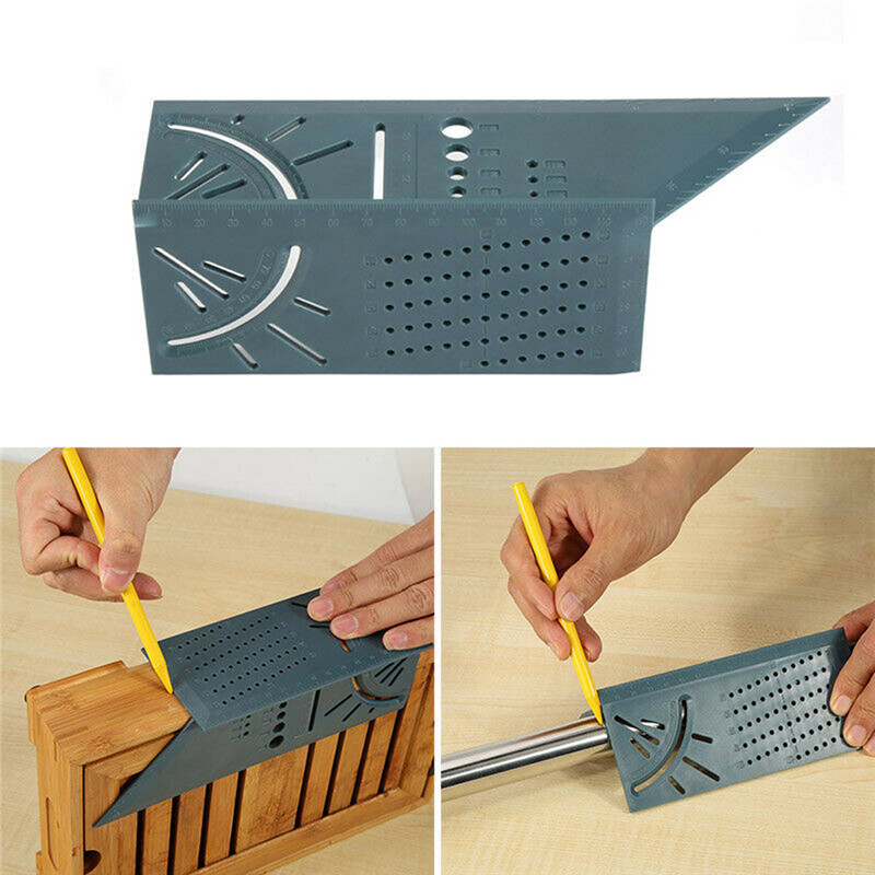 Woodworking 3D Mitre Angle Measuring Ruler 45/90 degree Square Size Measure Tool With Gauge Pen Home Hand Tool Sets